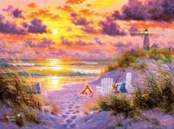 Golden Tide Seascape / Coastal Living Jigsaw Puzzle