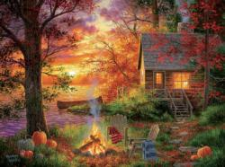Sunset Serenity Cottage / Cabin Jigsaw Puzzle