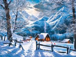On a Snowy Morning Cottage / Cabin Jigsaw Puzzle