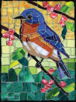 Stained Glass Bluebird Birds Jigsaw Puzzle