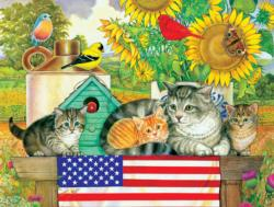 Patriotic Kittens Flags Jigsaw Puzzle