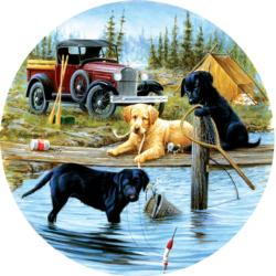 Camping Trip Lakes / Rivers / Streams Round Jigsaw Puzzle