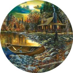 Fall Cabin Cottage / Cabin Round Jigsaw Puzzle