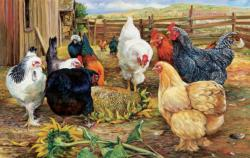 Mystery of the Sunflower Chickens & Roosters Jigsaw Puzzle