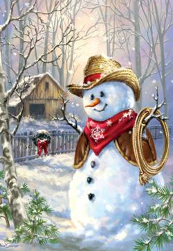 Cowboy in the snow Snowman Jigsaw Puzzle