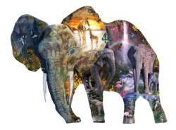 Elephant  Waterfall Elephants Jigsaw Puzzle