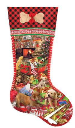 Puppy Stocking Christmas Jigsaw Puzzle