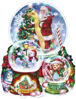 3  Snow Globes Christmas Jigsaw Puzzle