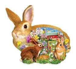 Springtime Bunnies Flowers Jigsaw Puzzle
