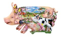 Pig Farm Collage Jigsaw Puzzle