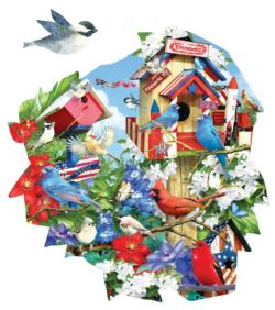 Birdhouse Celebration Patriotic Shaped Puzzle