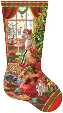A Girl's Stocking Christmas Shaped Puzzle