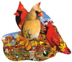 Fall Cardinals Fall Shaped Puzzle