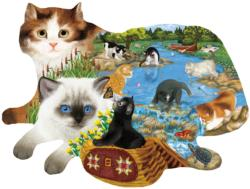 Fishing Kittens Cats Shaped