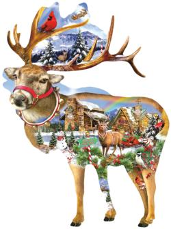 Reindeer Training Christmas Jigsaw Puzzle