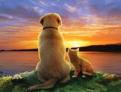 As the Sun Sets Dogs Jigsaw Puzzle