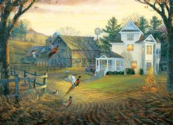 Country Crossing Pheasants Fall Jigsaw Puzzle