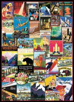 Travel USA (Vintage Ads ) Collage Jigsaw Puzzle