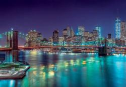 New York in the Night Lakes / Rivers / Streams Jigsaw Puzzle