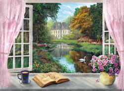 View on the Garden (Tea Time) Lakes / Rivers / Streams Jigsaw Puzzle