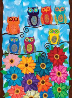 Cute Little Owls Flowers Jigsaw Puzzle