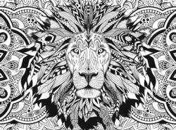 Lion (3D Colour Therapy) Adult Coloring Coloring Puzzle