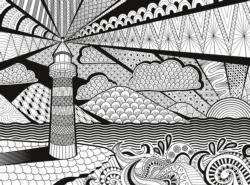 Lighthouse (3D Colour Therapy) Adult Coloring Coloring Puzzle