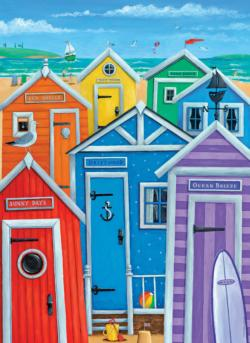 Rainbow Beach Huts Nautical Jigsaw Puzzle