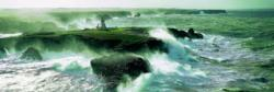 Blast of Wind on the Pointe des Poulains Seascape / Coastal Living Panoramic Puzzle
