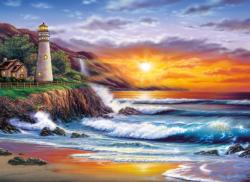 Lighthouse at Sunset Seascape / Coastal Living Jigsaw Puzzle