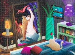 Cat In The Mirror Fantasy Jigsaw Puzzle