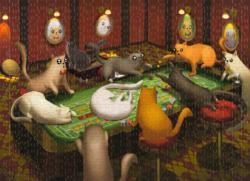 Cats Playing Craps Cartoon Jigsaw Puzzle