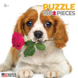 Dog with Rose (Mini) Valentine's Day Miniature Puzzle