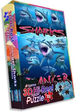 Danger Sharks Under The Sea Jigsaw Puzzle