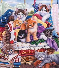 Laundry Time Cats Jigsaw Puzzle