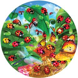 Ladybug Circle Butterflies and Insects Jigsaw Puzzle