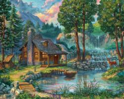 House by the Lake Cottage / Cabin Jigsaw Puzzle