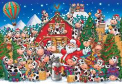 Christmas Party Cows Christmas Jigsaw Puzzle