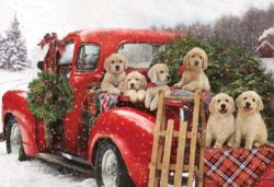 Puppies Holiday Ride Christmas Jigsaw Puzzle