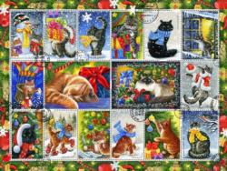 Christmas Cat Stamps Collage Jigsaw Puzzle