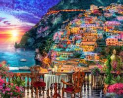 Positano Sunset Sunrise / Sunset Jigsaw Puzzle