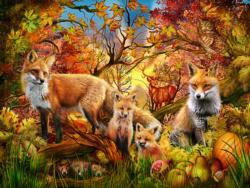 Autumn Foxes Landscape Jigsaw Puzzle