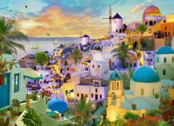 Santorini Sunset Greece Jigsaw Puzzle