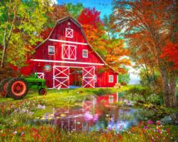 Autumn at the Old Barn Outdoors Jigsaw Puzzle