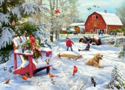 The Farm at Christmas  Snow Jigsaw Puzzle