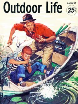 Fishing lesson - August 1953 (Outdoor Life) Fishing Jigsaw Puzzle