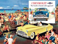 The Beach is Buzzin' - 1950 Chevy Bel Air Convertible (General Motors) Nostalgic / Retro Jigsaw Puzzle
