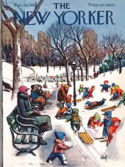Sledding in the Park New York Jigsaw Puzzle