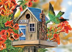 Trumpet Vines & Tree Sparrows Birds Large Piece