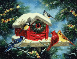 Cozy Bird House Christmas Jigsaw Puzzle